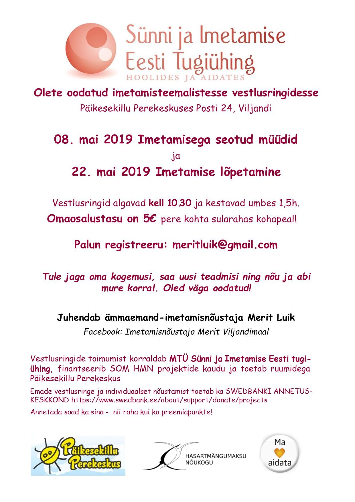 22.mai 2019 vestlusring Viljandis: Imetamise lõpetamine